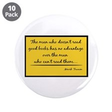 "Twain Good Books--yellow 3.5"" Button (10 pack)"
