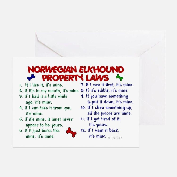 Norwegian Elkhound Property Laws 2 Greeting Card
