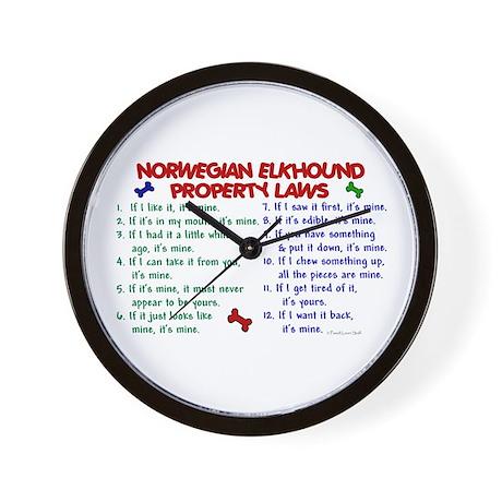 Norwegian Elkhound Property Laws 2 Wall Clock
