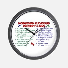 Norwegian Elkhound Property Laws 2 Wall Clock