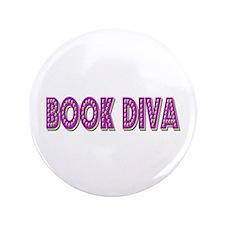 """Book Diva (Purple) 3.5"""" Button"""