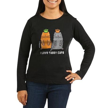 I Love Tabby Cats Women's Long Sleeve Dark T-Shirt