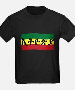 Ethiopia in Amharic with Flag T