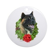 Akita Wreath Ornament (Round)