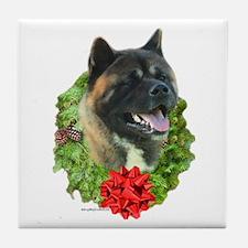 Akita Wreath Tile Coaster