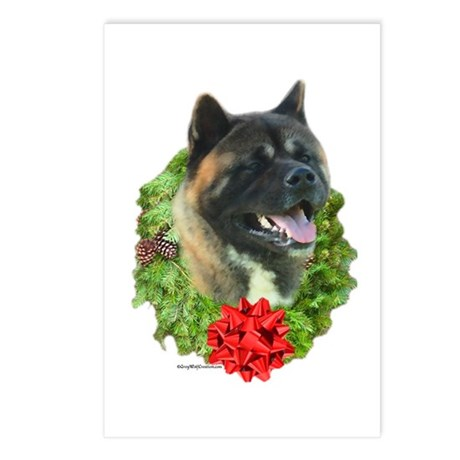 Akita Wreath Postcards (Package of 8)
