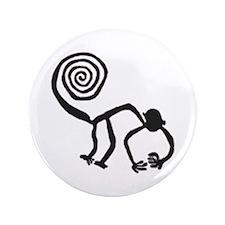 "Nazca Monkey (black) 3.5"" Button (100 pack)"