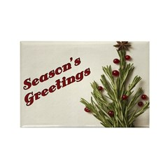 Season's Greetings - Holly Rectangle Magnet