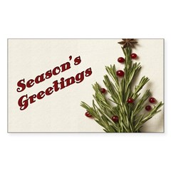 Season's Greetings - Holly Rectangle Decal