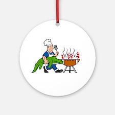 Chef Alligator Spatula BBQ Grill Cartoon Round Orn