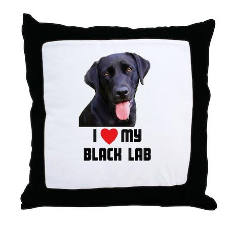 I Love My Black Lab Throw Pillow
