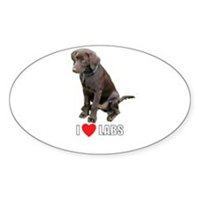 I Love Labs Oval Decal