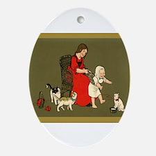 """Knitting Christmas"" Oval Ornament"