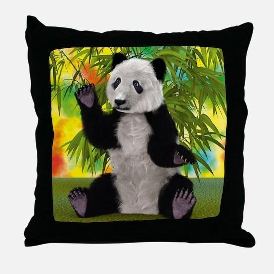 3D Rendering Panda Bear Throw Pillow
