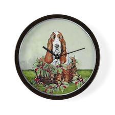 Christmas Basset Holiday Dog Wall Clock