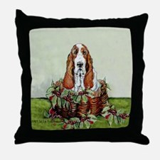 Christmas Basset Holiday Dog Throw Pillow
