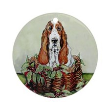 Christmas Basset Holiday Dog Ornament (Round)