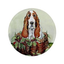 """Christmas Basset Holiday Dog 3.5"""" Button (100 pack"""