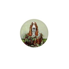 Christmas Basset Holiday Dog Mini Button (10 pack)