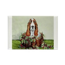 Christmas Basset Holiday Dog Rectangle Magnet (100