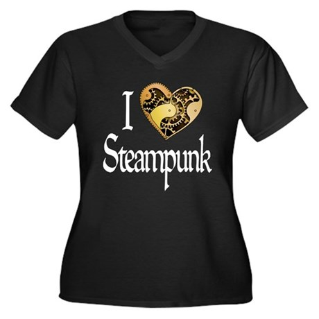 Heart Steampunk Women's Plus Size V-Neck Dark T-Sh