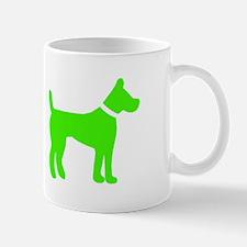 Dog 2 Neon Green Mugs