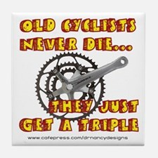 Old Cyclists Never Die Tile Coaster