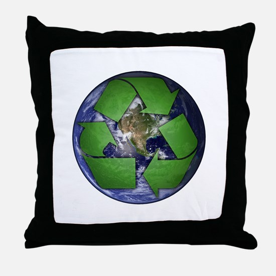 Green Recycle on Earth Throw Pillow