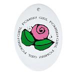 Girl Power Flower Oval Ornament