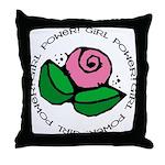 Girl Power Flower Throw Pillow