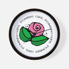 Girl Power Flower Wall Clock