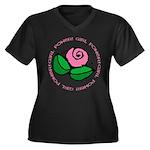 Girl Power Flower Women's Plus Size V-Neck Dark T-