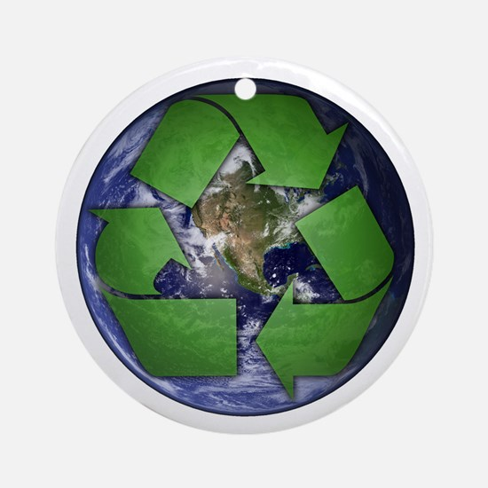 Green Recycle on Earth Round Ornament