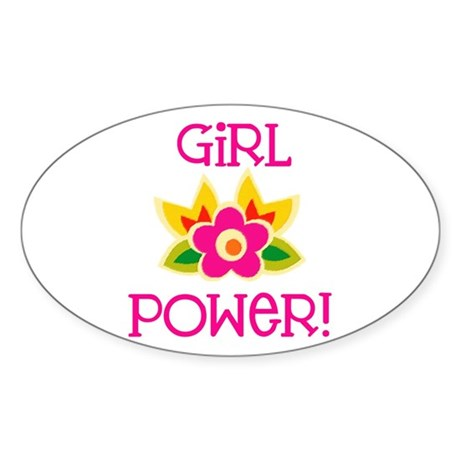 Flower Girl Power Oval Sticker