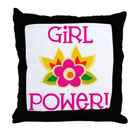 Flower Girl Power Throw Pillow