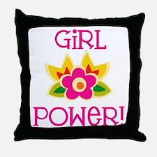 Flower Girl Power Throw Pillow