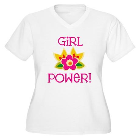 Flower Girl Power Women's Plus Size V-Neck T-Shirt