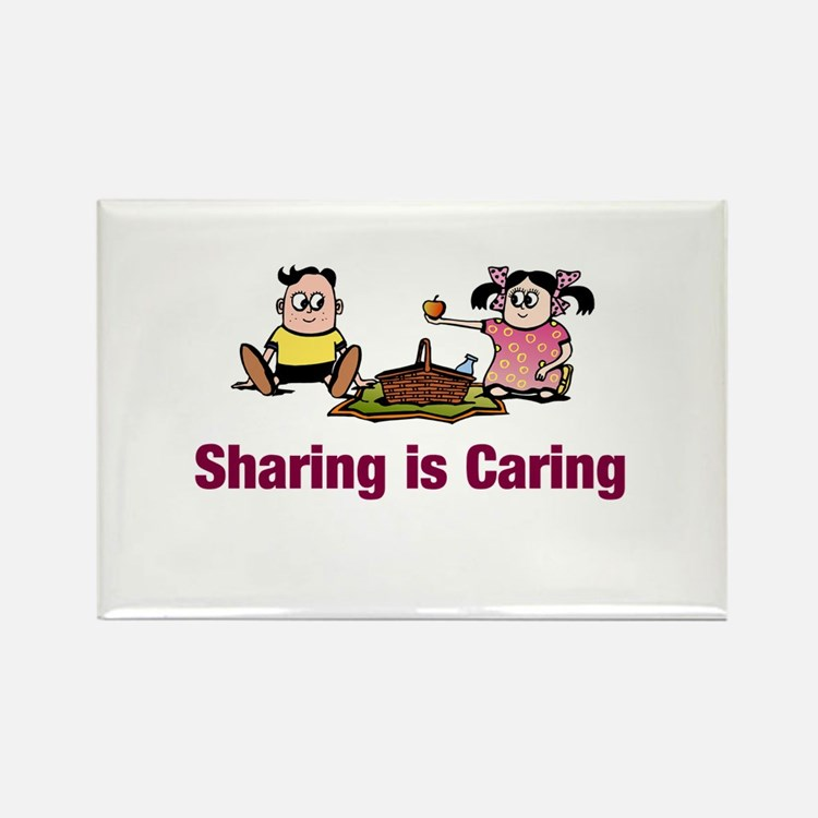 Sharing is Caring Rectangle Magnet