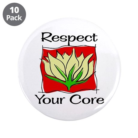 "Pilates Respect Your Core 3.5"" Button (10 pack)"