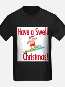 Santa Surfing Ash Grey T-Shirt