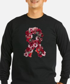 Vintage Flowers Pink Ribbon Long Sleeve T-Shirt