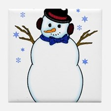 Snowman with Carrot Nose Hat and Snow Tile Coaster