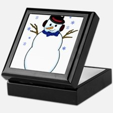 Snowman with Carrot Nose Hat and Snow Keepsake Box
