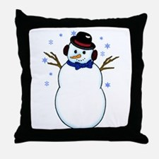 Snowman with Carrot Nose Hat and Snow Throw Pillow