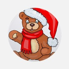 Santa Teddy Bear with Red Scarf Round Ornament