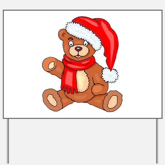 Santa Teddy Bear with Red Scarf Yard Sign