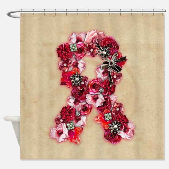 Vintage Flowers Pink Ribbon Shower Curtain