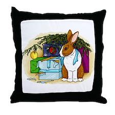 Rabbit Christmas Present Throw Pillow