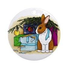 Rabbit Christmas Present Ornament (Round)