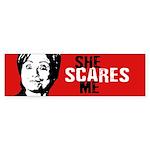 Hillary Scares Me Bumper Bumper Sticker